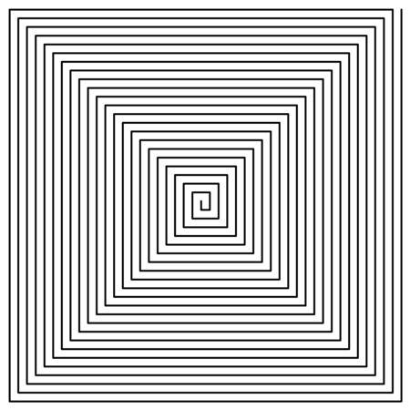 Square spiral background pattern. Thin black line style edgy swirl illustration. Adjustable stroke width.