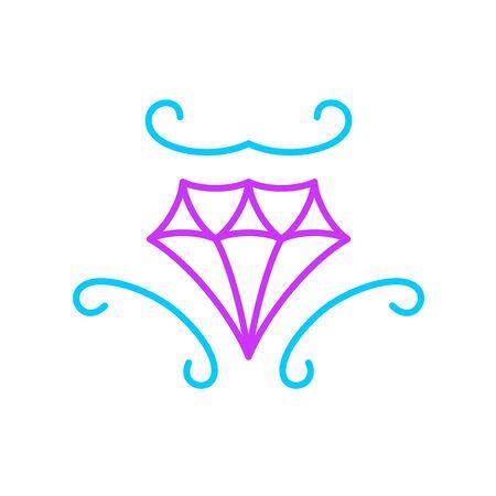 Elegant diamond logo. Line style curvy shapes jewelry boutique sign. Fashion acessories shop symbol.