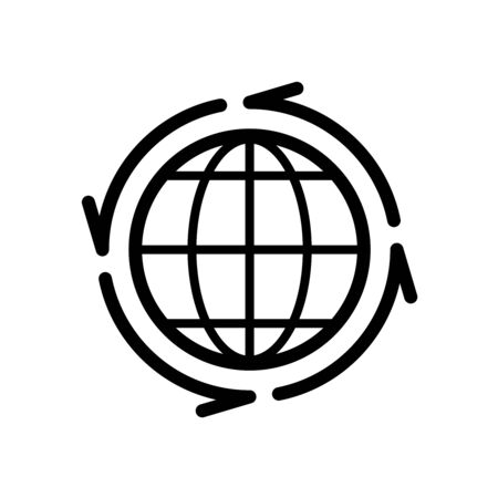 Earth globe with line arrows around icon. All over the world symbol. Goods distribution sign. Vettoriali