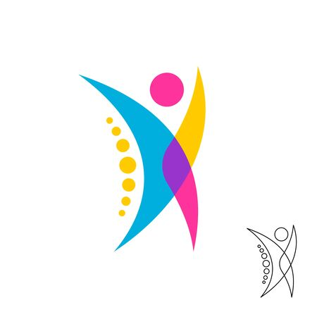Logo de figure humaine stylisé avec symbole de points de colonne vertébrale. Signe chiropratique de style superposé coloré.