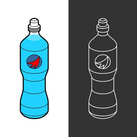 Isotonic sport drink bottle. Blue liquid for fitness in a plastic bottle with cup.