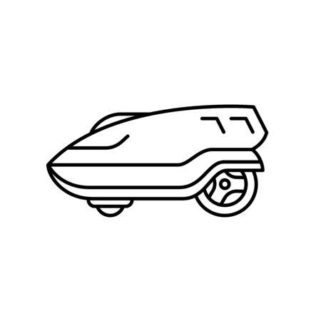 Illustration de la vue latérale du robot tondeuse à gazon. Icône de tondeuse automatique de style de ligne. Outil électrique extérieur de jardin.