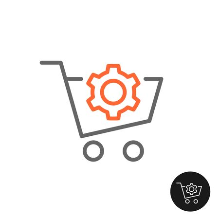 Procurement shopping cart icon with gear cog. Sales control and regulation. Marketing process symbol.