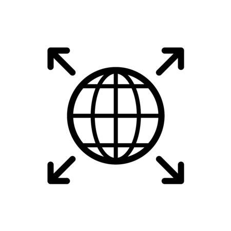 Word expansion icon. Earth globe symbol with four corner arrows. Grow over the world. Ilustração