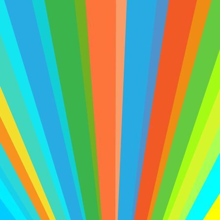 Inclined vertical colorful rainbow stripes abstract background. Color ribbons up from horizon. Circus or carnival rays theme. Coloured lines.