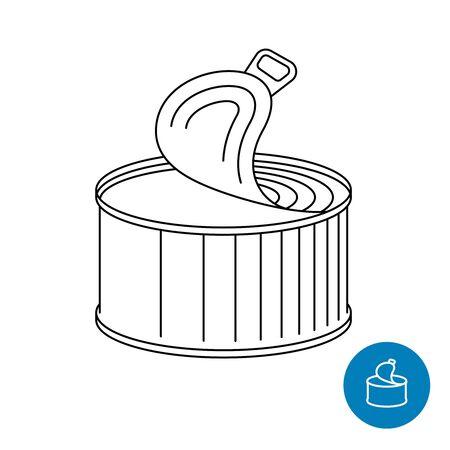Tin can opened. Canned foods or drinks symbol. Ilustração