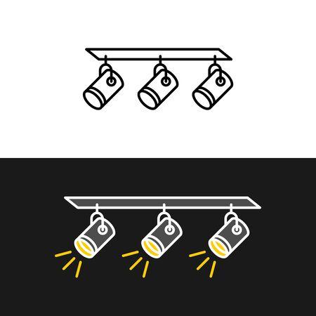 Track light triple block. Indoor house spot light illustration. Three spotlight symbol.
