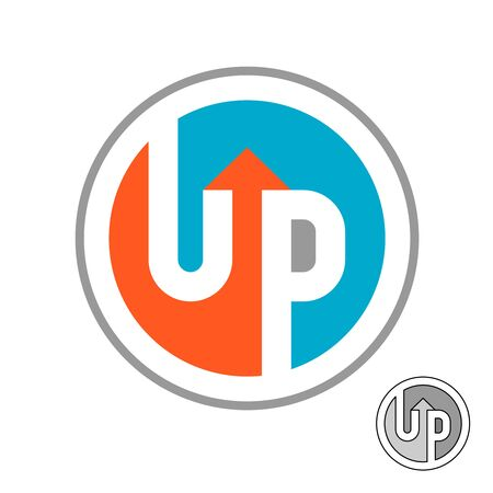 Up word logo with arrow. Round symbol with negative space. Letters U and P symbol. Vettoriali
