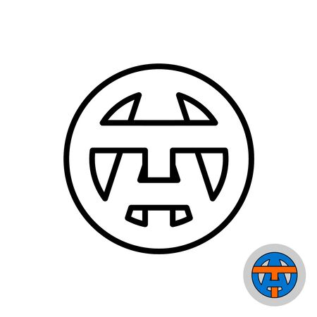 Letters A and T monogram logo. AT or TA initials symbol. Outline style in a round badge. Adjustable stroke width.