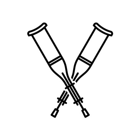 Crutches crossed icon. Walking crutches logo. Adjustable stroke width.