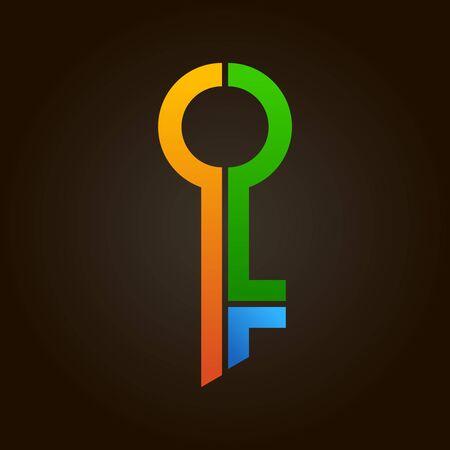 Colorful abstract key logo. Real estate or apartment rental color symbol. Composite door key symbol. Vettoriali