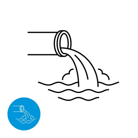 Waste water pipe flow down the river waves. Water pollution utility and engineering logo. Wastewater line style icon. Adjustable stroke width. Vettoriali