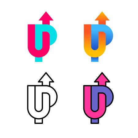 UP word colorful logo with arrow up. U and P letters wide stripe style sign with variations.