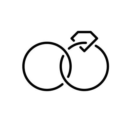 Wedding rings with diamond simple line style logo. Adjustable stroke width.