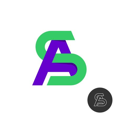 Letters A and S monogram logo. Color type signs SA or AS. Wide ribbon style creative symbol.