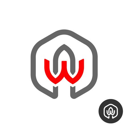 A and W capital letters . AW or WA initials monogram in a hex or 3D cube rounded frame. Vettoriali