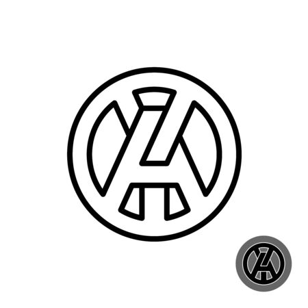 A and Y capital letters line style . Round AY or YA initials monogram.