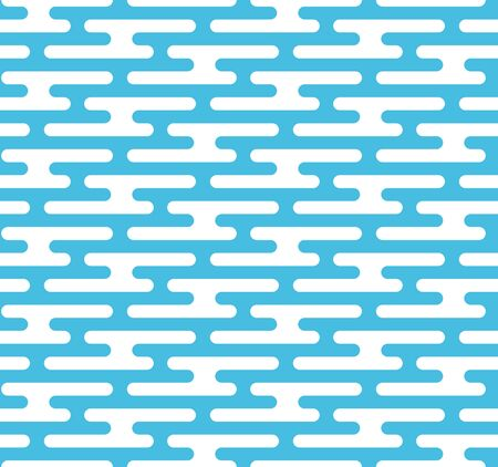 Geometric rounded sky seamless pattern background. Skies rough texture with blue and white colors. Stylized clouds backdrop design.