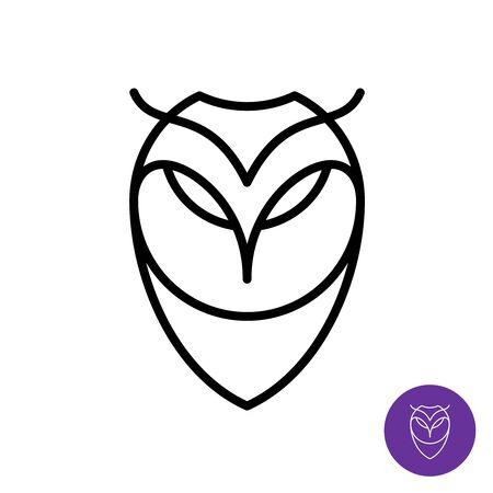 Outline style owl simple icon. Predator bird face line  . Adjustable stroke width.