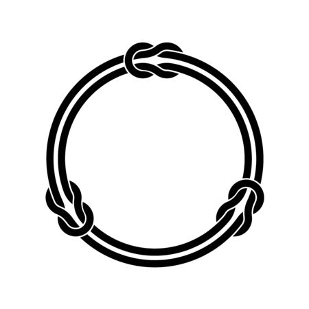 Circle frame with knots and two infinite even ropes. Black color round wires decoration.