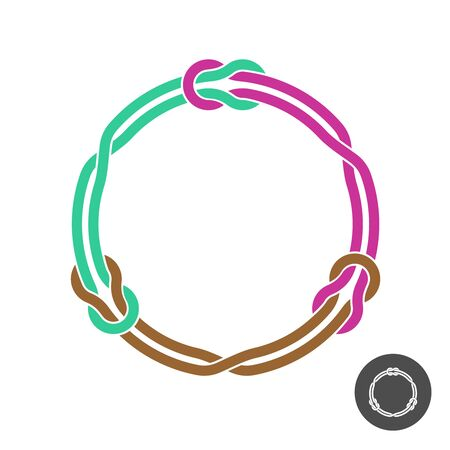 Circle frame with knots and three linked loop ropes. Colored round wires decoration.