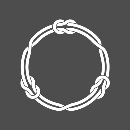 Circle frame with knots and three linked loop ropes. White on dark background round wires decoration.