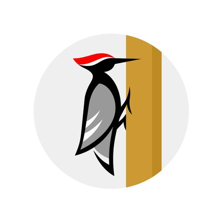 Woodpecker  sitting on a tree. Stylized wood pecker bird in a round badge.