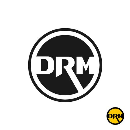 Digital rights management DRM acronym  . Three initial letters D, R and M in a black round badge.