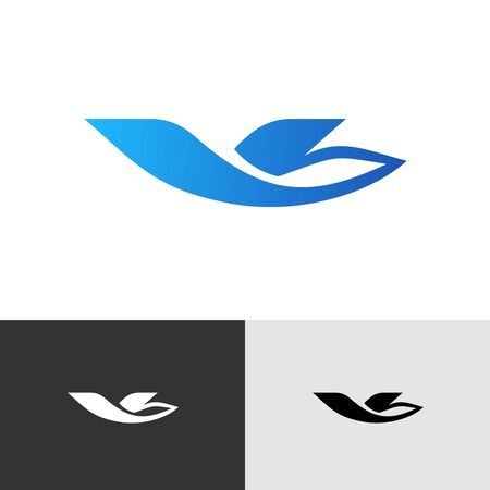 Travel agency or airline stylized  . Bird or plane silhouette in flight. Flying aircraft with V letter symbol.