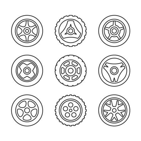 Toy car wheels set. Outline style vehicle disks with tyres. Adjustable stroke width. Vettoriali