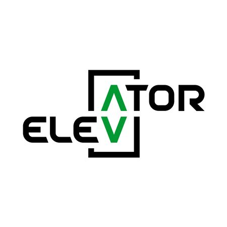Elevator text . Stylized word elevator with panel button arrows up and down as letters A and V.