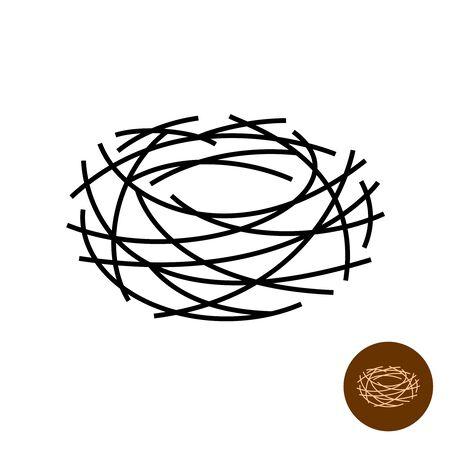 Nido . Símbolo aislado del nido de aves vacías de líneas finas. Ancho de trazo ajustable.