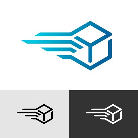 Fast delivery speed box . Moving 3D cube stylized symbol. Vettoriali