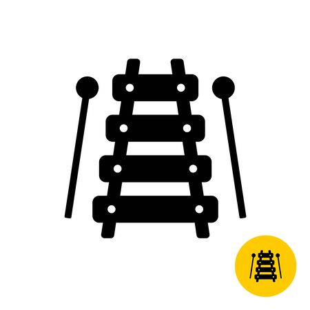 Xylophone toy simple silhouette icon with sticks.