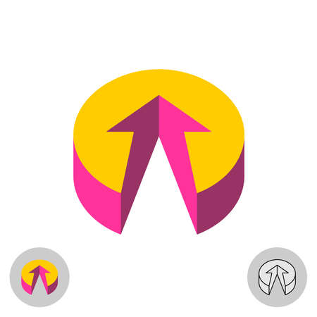 3D button with arrow up. Color flat round perspective icon with forward direction.