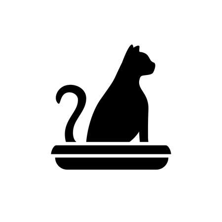 Symbol of a cat in a toilet. Home pet litter box with cat sitting in it. Animal pooping silhouette.