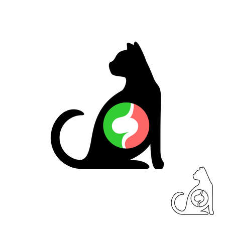 Cat silhouette with stomach symbol. Pet animals food balance concept logo. Domestic cat sitting icon. Vettoriali