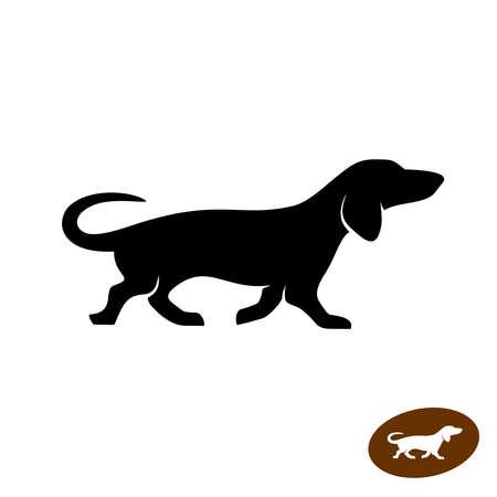 Dachshund dog running vector silhouette. Shortlegged badger dog symbol.
