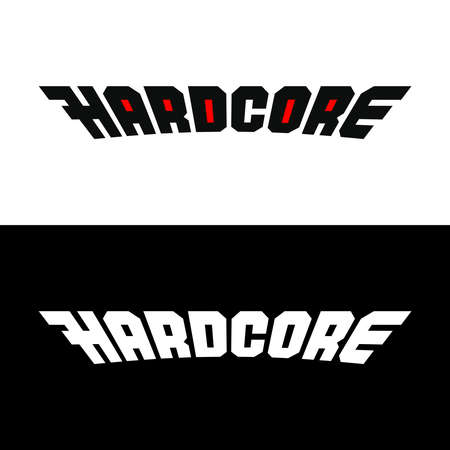 Hardcore word stylized. Text symbol for fashion and clothes.