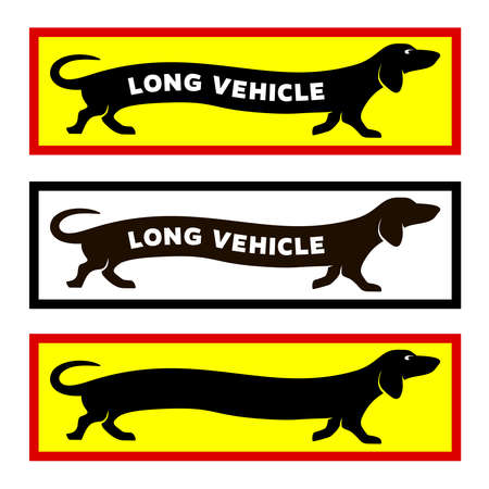 Long vehicle concept sticker for trucks. Dachshund dog running with text.