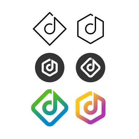 Music logos with note on a square, round and hex badge. Line style and colour variations.