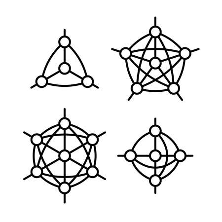 Neural network or other node with links type structure object set. Different number of nodes and connections. Adjustable stroke width.