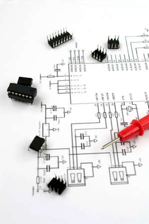 electronic elements: componenti elettronici e sistema elettronico Archivio Fotografico