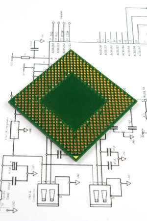 microprocessor and electronic scheme cloce-up photo