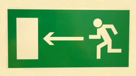 fire escape: emergency  exit sign on white background Stock Photo