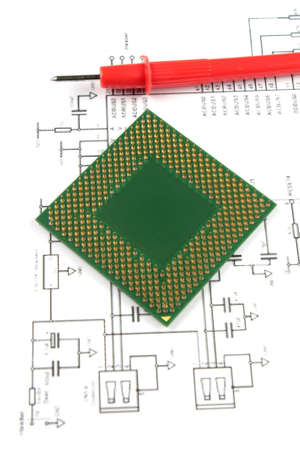 microprocessor and electronic  scheme close-up Stock Photo - 6273637