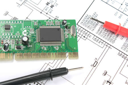 electronic components on printed circuit board