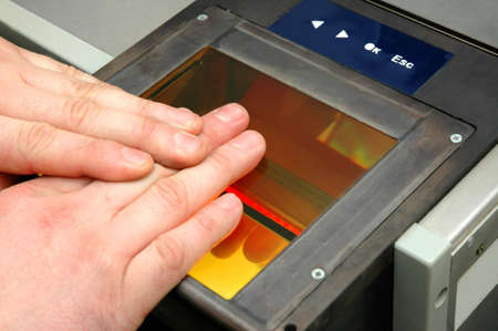 fingerprints are being taken  Stock Photo