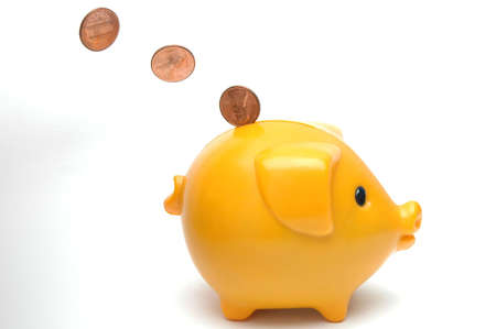 cents: piggy bank and one cents Stock Photo