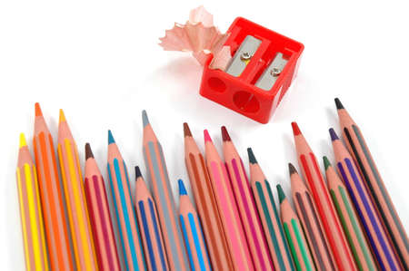 Coloured pencils and  red sharpener Stock Photo - 6770311